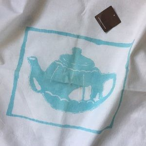 Anthropologie vintage tea towel blue teapot
